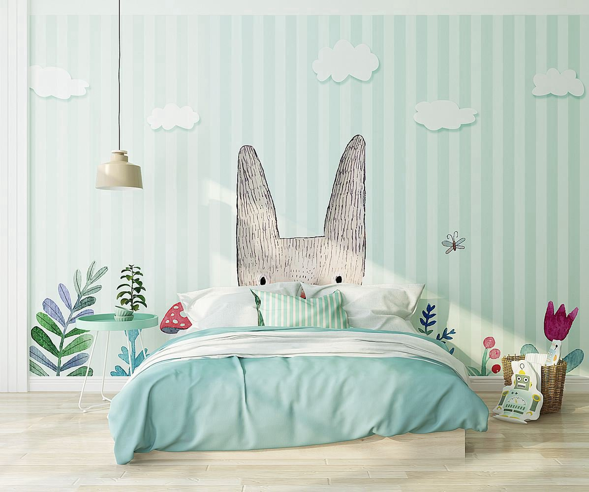 PW20181009025 Kids room with modern nordic rabbit concise style cartoon design  by SJK