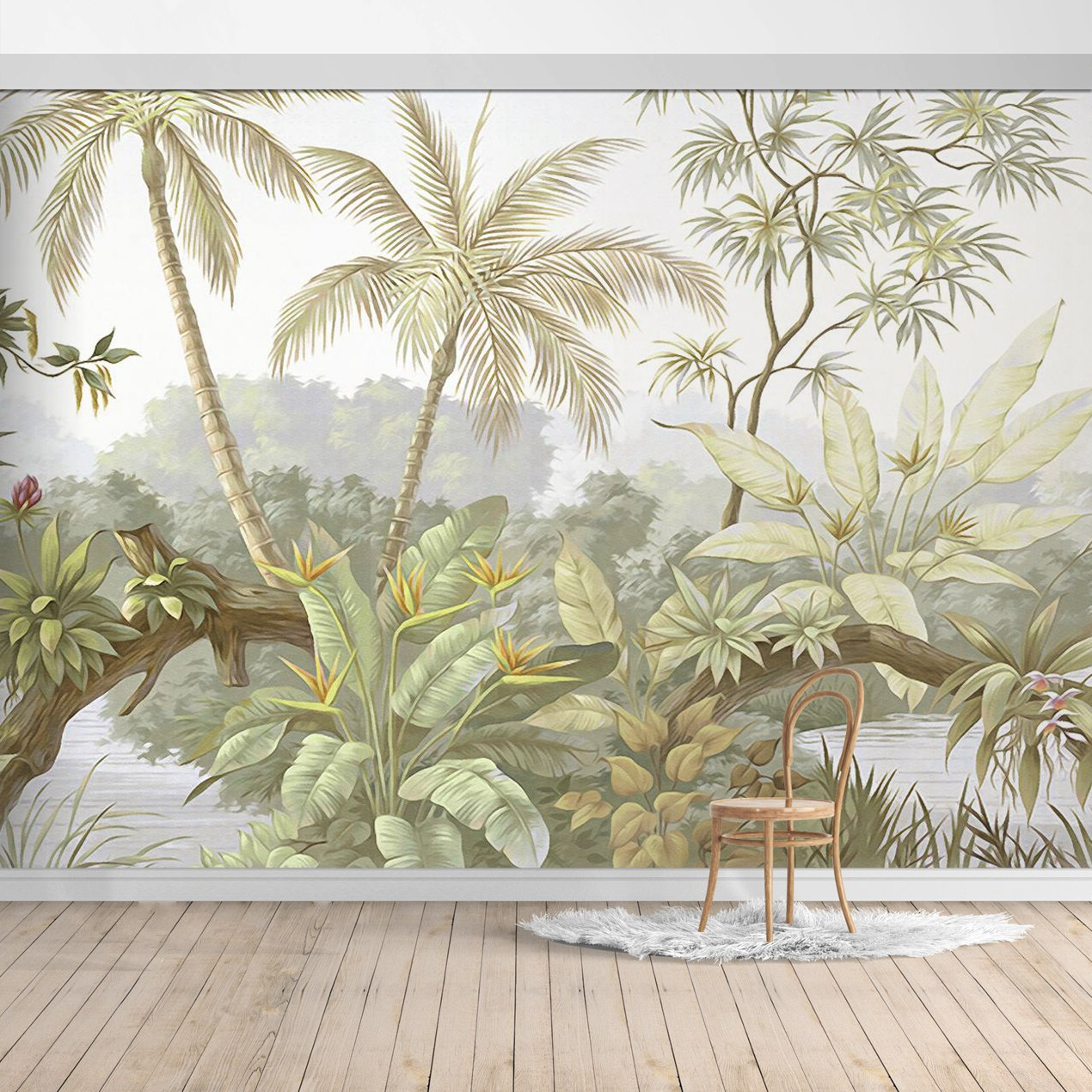 PW20181009027-2 Hawaiian style Jungle design Mural for bedroom or dinning room by SJK