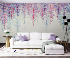 PW20181009032 Living room watercolor purple ivy leaves nature floral mural by SJK