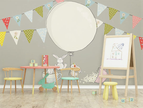 PW20181009034 Kids room with modern nordic animal concise style cartoon rabbit balloon design  by SJK
