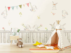 PW20181009035 Kids room with modern nordic animal concise style cartoon rabbit  and wood panels design  by SJK