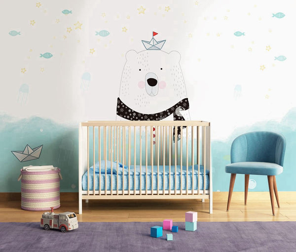 PW20181009046 Kids room with modern nordic bear concise ocean style cartoon design  by SJK