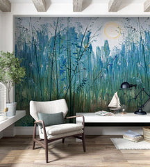 PW20181009047 Natural Wash painting  bamboo forest  Mural  by SJK