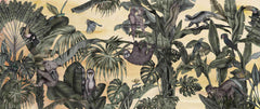Oiled Painting Jungle Design Wallpaper/Banana Leaves And palm leaves With Animals Mural