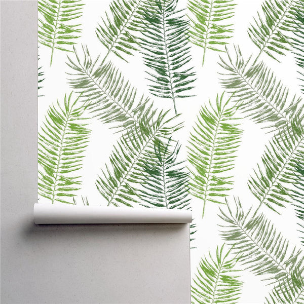 PW220622329 Green Palm Leaves Tropical Wallpaper Roll by Harmez
