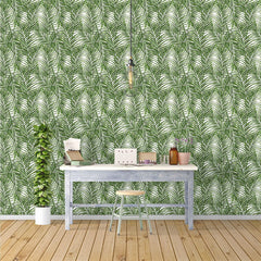PW227517466 Green Palm Leaves Tropical Wallpaper Roll by Harmez