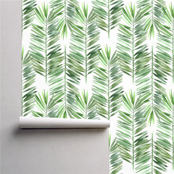 PW230144380 Green Palm Leaves Tropical Wallpaper Roll by Harmez