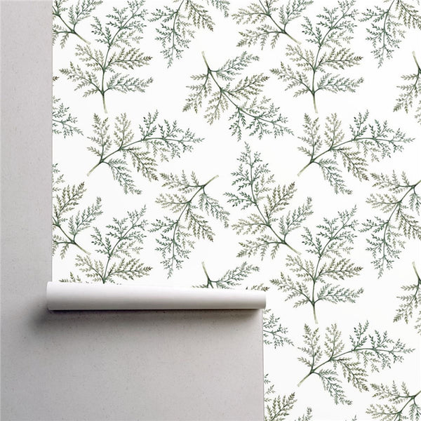 PW254940790 Green Plant Branches Anthriscus Leaves Tropical Wallpaper Roll by Harmez