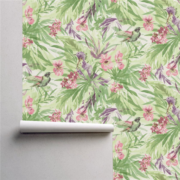 PW423332502 Birds with Blossom in Green Leaves Tropical Wallpaper Roll by Harmez