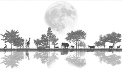 STDM30031 Nordic Forest and Animal reflections on Lake side Mural Wallpaper by SJK