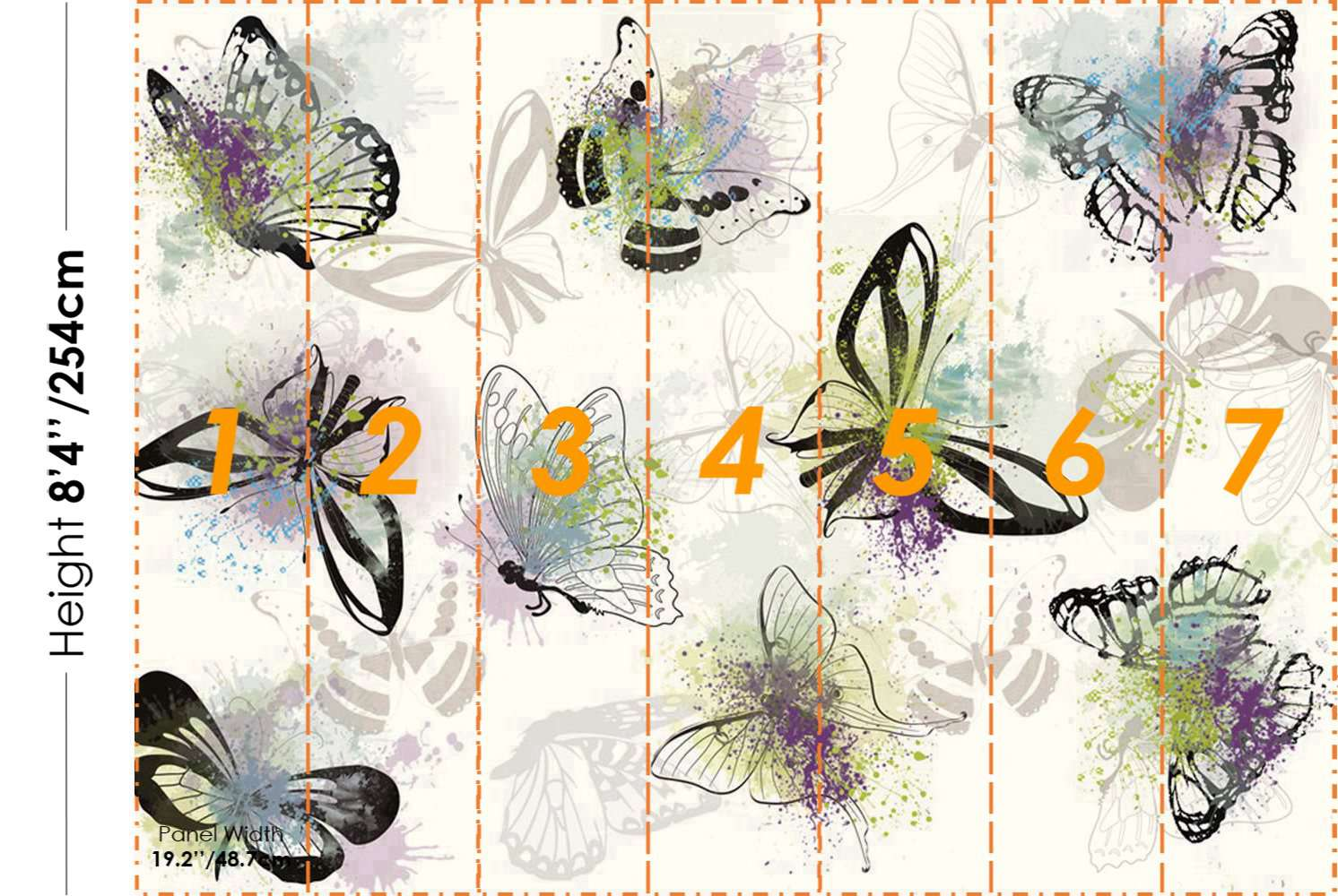 STDM30042 Beautiful Butterflys Mural Wallpaper by SJK