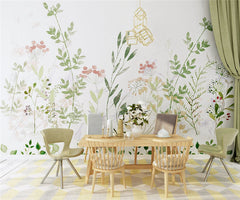 STDM30089 Fresh Watercolor Flower and Branches Mural Wallpaper by SJK