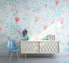 STDM30090 Watercolor Pink Flower and Green Branches Mural Wallpaper by SJK