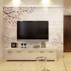 STDM30116 Vintage Pink  Peach blossom Branches Mural Wallpaper by SJK