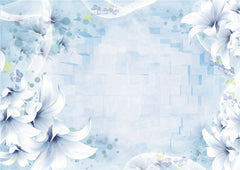STDM30190 White Morning Glory on Blue 3D Textile Backgound Mural Wallpaper by SJK