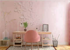 STDM30202 3D Butterflies on Pink Background Mural Wallpaper by SJK