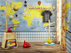 STDM30225 Cartoon World Map for Kids Mural Wallpaper by SJK