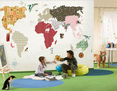STDM30229 Cartoon Animal World Map for Kids Mural Wallpaper by SJK