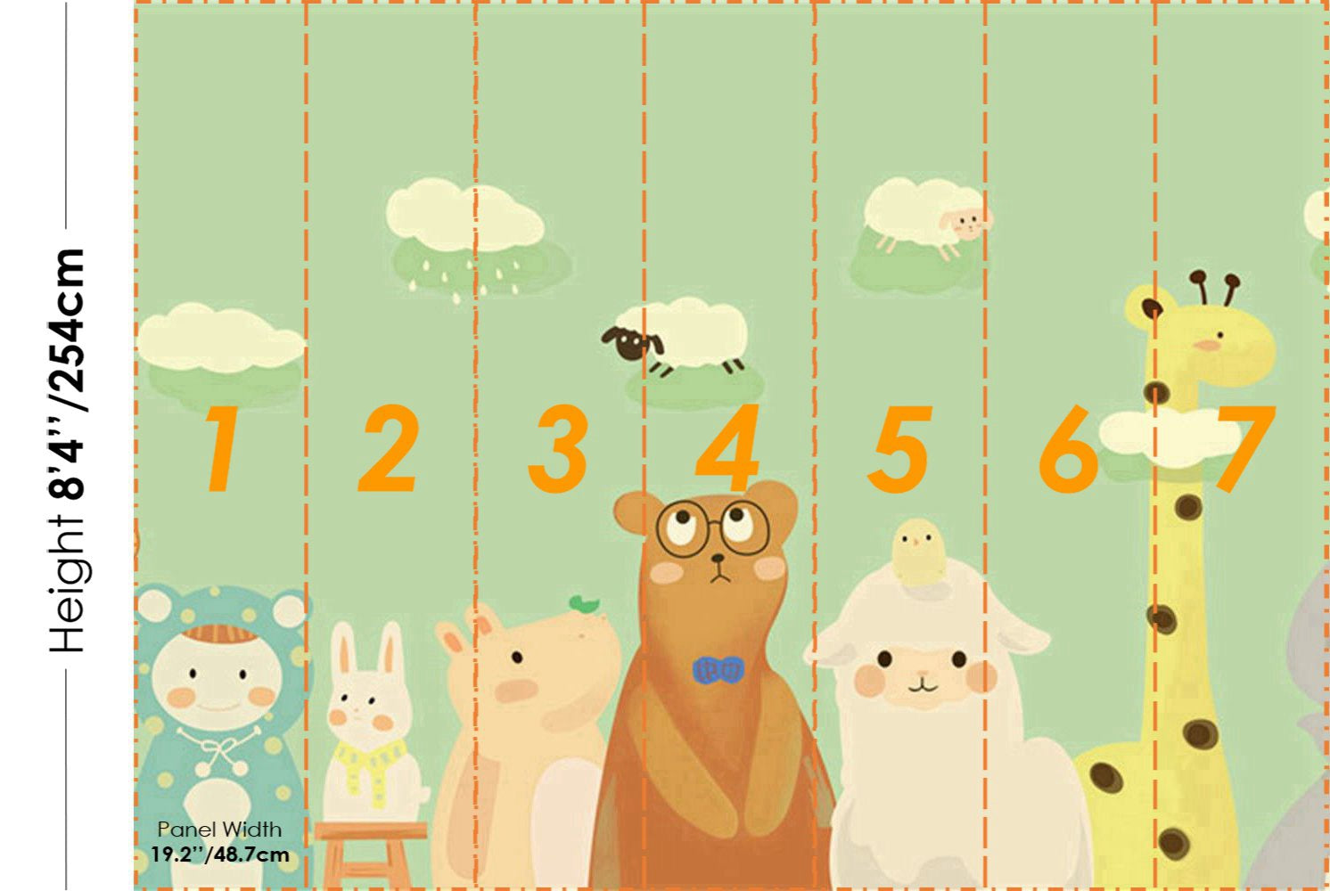 STDM30233 Cartoon Animals with Green Background Mural Wallpaper by SJK