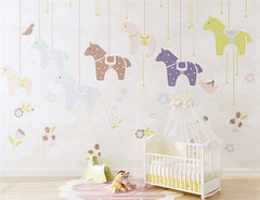 STDM30235 Cartoon Animal  Merry-go-round Mural Wallpaper by SJK