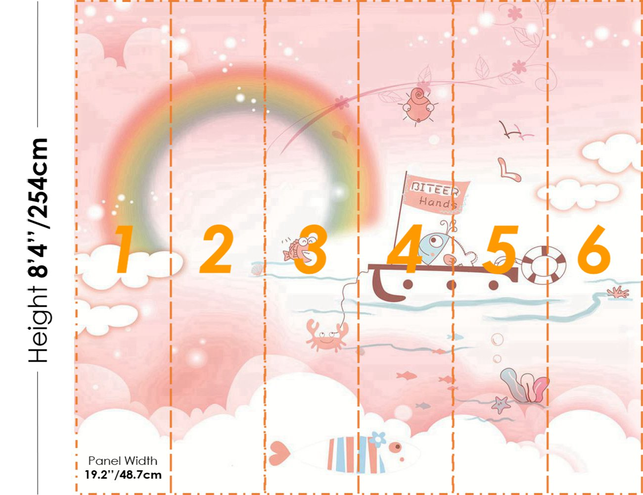 STDM30315 Cartoon Fish on a Boat in the Sea with a Colorful Rainbow Mural Wallpaper by SJK