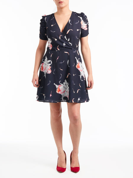 Ruched Sleeve Tea Dress