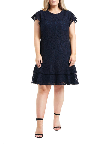 Double Peplum Lace Dress