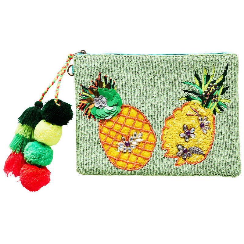 Accessories | Canvas and Sasson | Summertime Pineapple Clutch