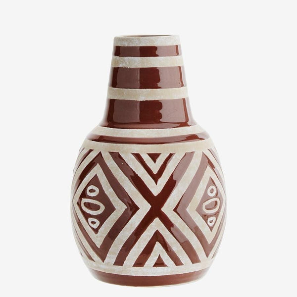Decorative vase | Madam Stoltz | Brown ceramic vase
