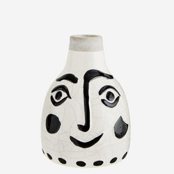 Decorative vases | Madam Stoltz | Ceramic vase with face pattern