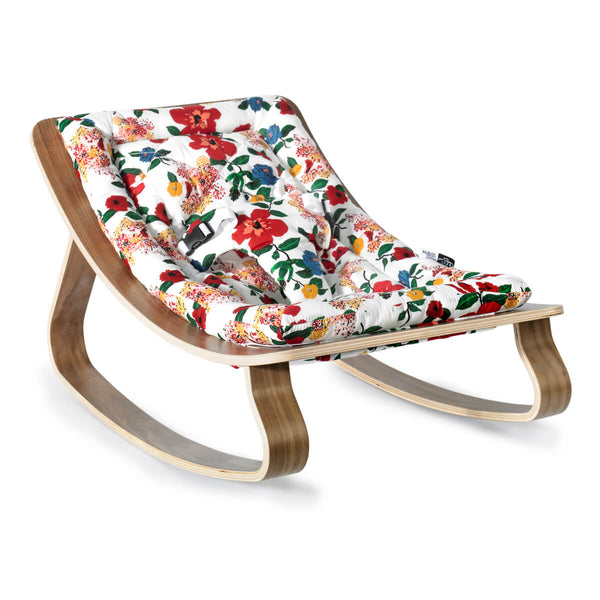 Charlie Crane - Levo Baby Rocker Walnut with Hibiscus cushion