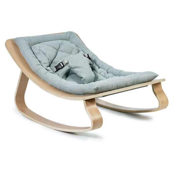 Charlie Crane - Levo Baby Rocker Beech with Sweet Grey Cushion