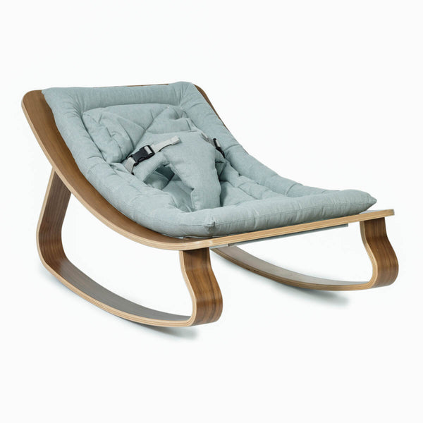 Charlie Crane - Levo Baby Rocker Walnut with Aruba Blue cushion