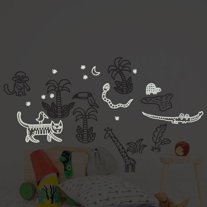 Wall Stickers Nursery | Chispum | Jungle Glow in the dark Wall Sticker