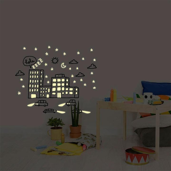 Wall Stickers for Kids | Chispum | City lights glow in the dark