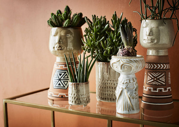 Home Decor | Madam Stoltz | Flower pot with face imprint