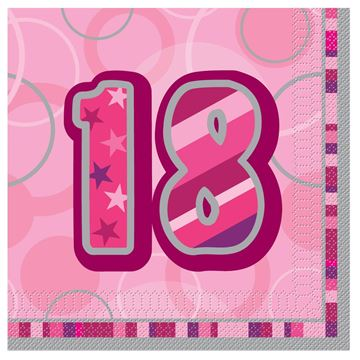 Lunch Napkins - Dazzling Pink - 18th Birthday