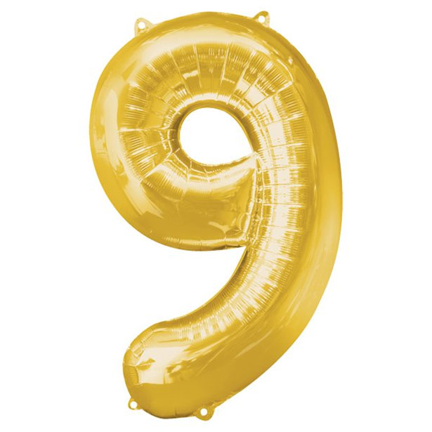 Balloon Foil Number - 9 Gold - 34""
