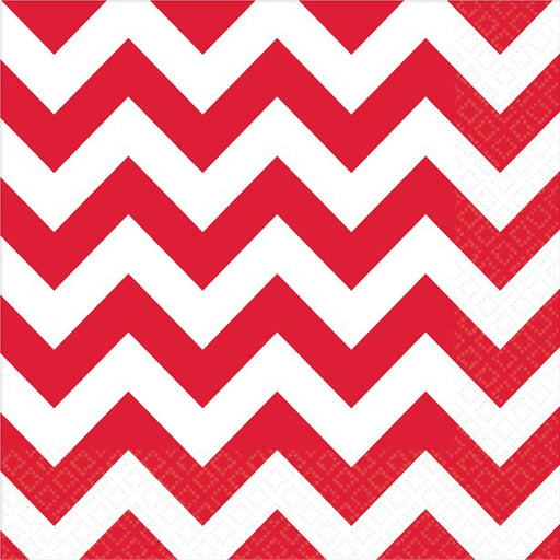 Luncheon Napkins - Red and White Chevron - 16pk