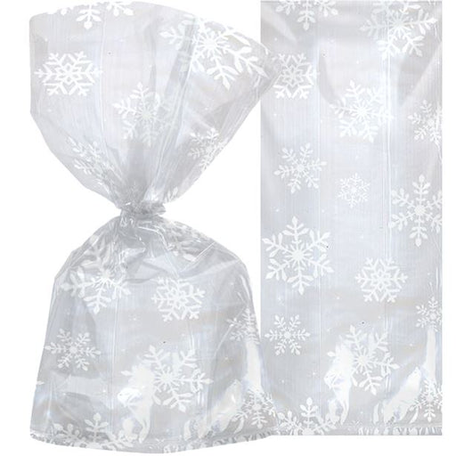 Snowflake Pattern Cello Bags - 20pk