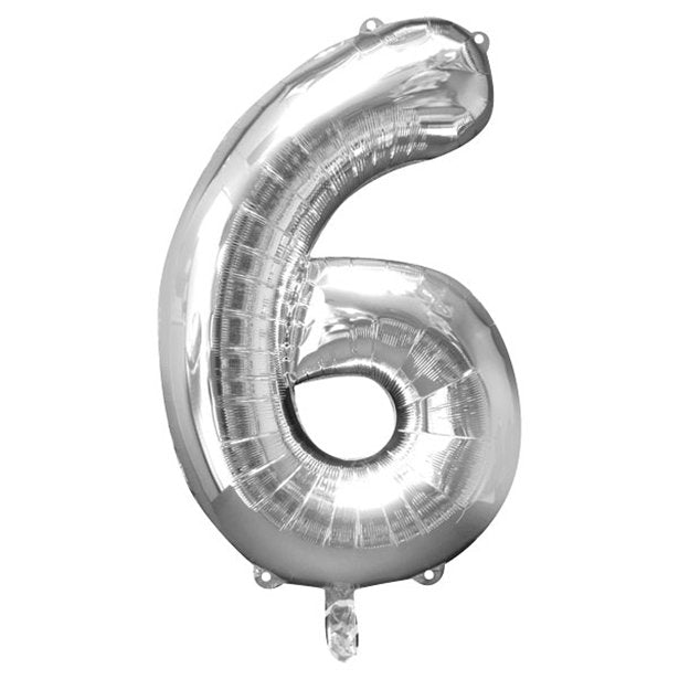 Balloon Foil Number - 6 Silver - 34""