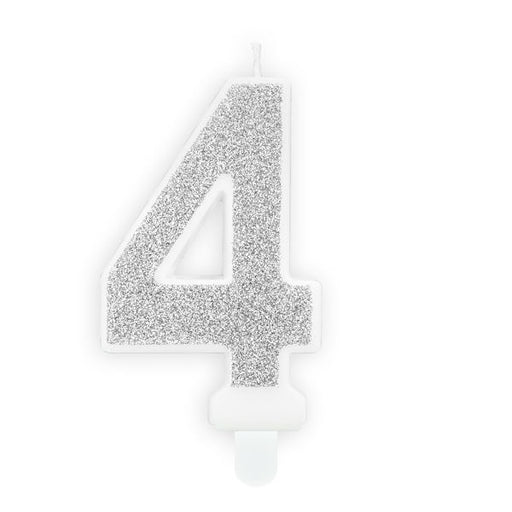 Silver Glitter Candle - Number 4