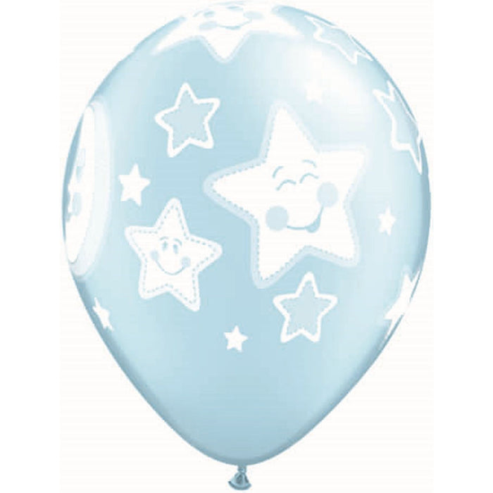 Balloon Latex Pearl - Baby Moon & Stars - Light Blue 11''