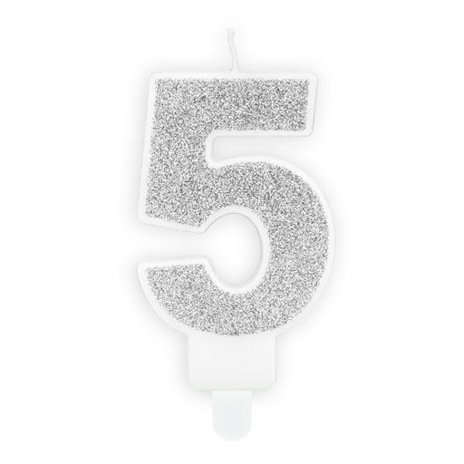 Silver Glitter Candle - Number 5