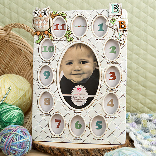 Baby's First Year Collage Frame - Owl Themed