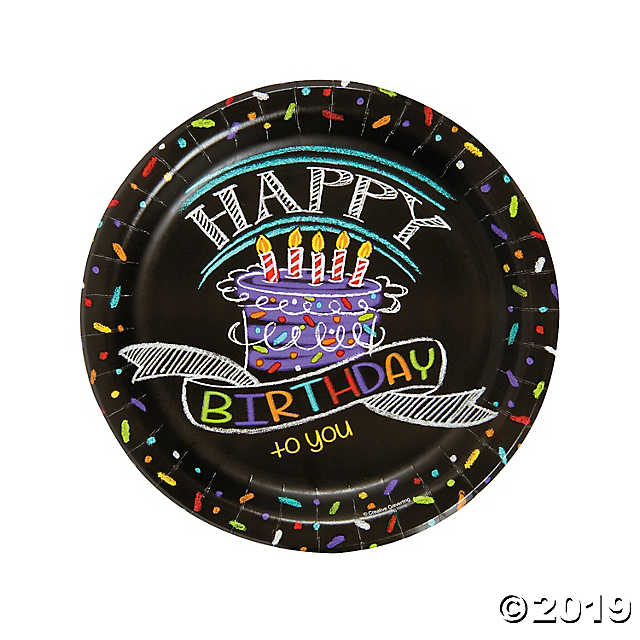 Chalk Birthday Dinner Plates Sturdy Style
