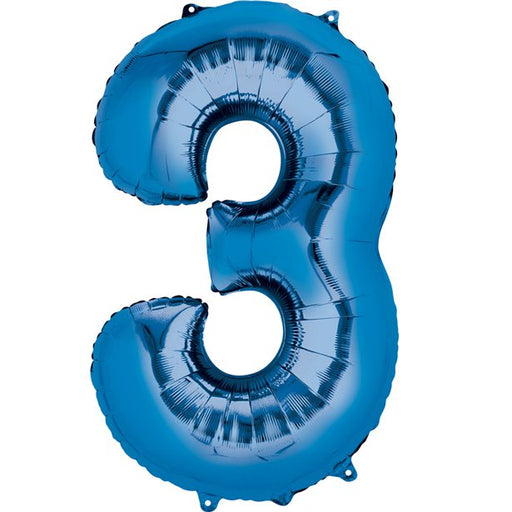 Balloon Foil Number - 3  Blue - 16""