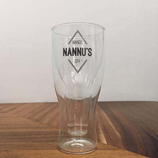Double Wall Beer Glass – Diamond Emblem Print - Nannu's - Hands Off