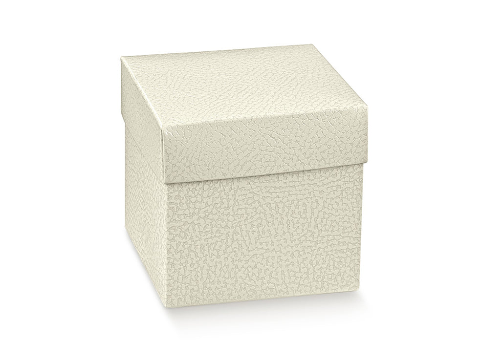 Box w/Lid - White Leather Text. 50x50x50mm