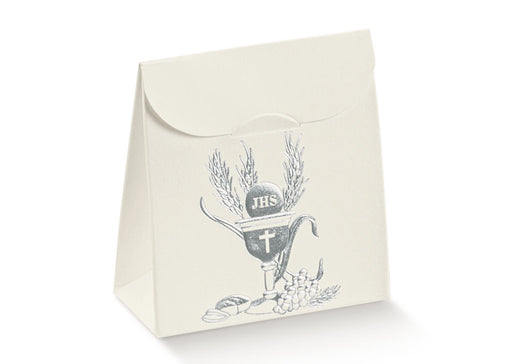 Box Bag with Chalice and Wheat in Silver 70x35x80